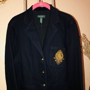 Lauren Ralph Lauren denim blazer with crest